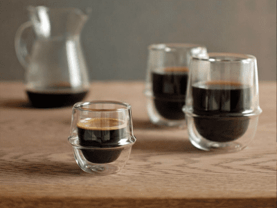 Kinto Kronos double-walled coffee glasses