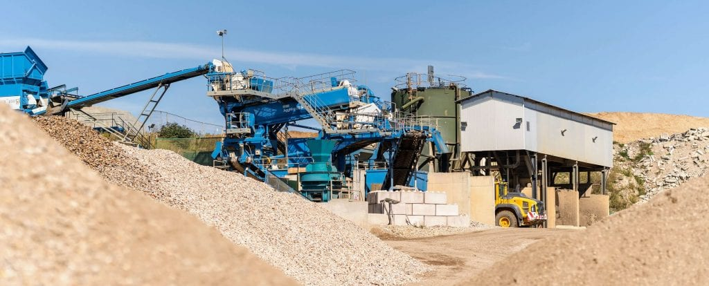 Aggregates at Canford recycling centre