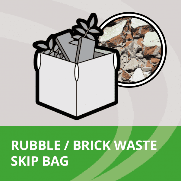 skip bag filled with rubble and brick waste
