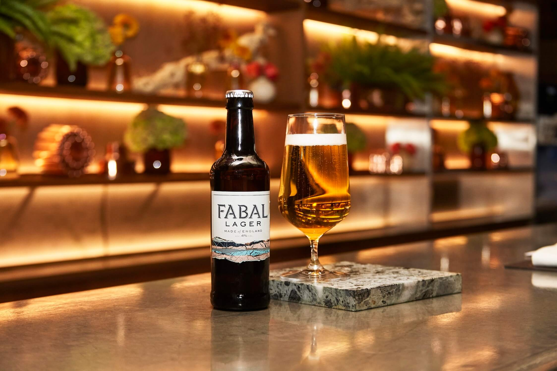 Fabal Lager at the Dorchester Hotel bar